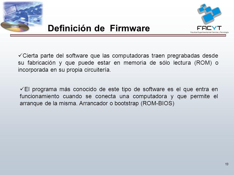 19 Cierta parte del software que las computadoras traen pregrabadas desde su fabricación y que puede estar en memoria de sólo lectura (ROM) o incorpor
