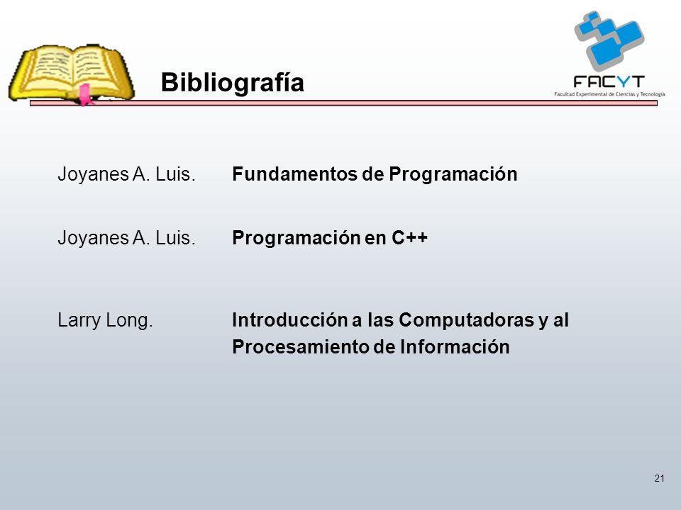 21 Bibliografía Joyanes A. Luis.Fundamentos de Programación Joyanes A. Luis.Programación en C++ Larry Long.Introducción a las Computadoras y al Proces