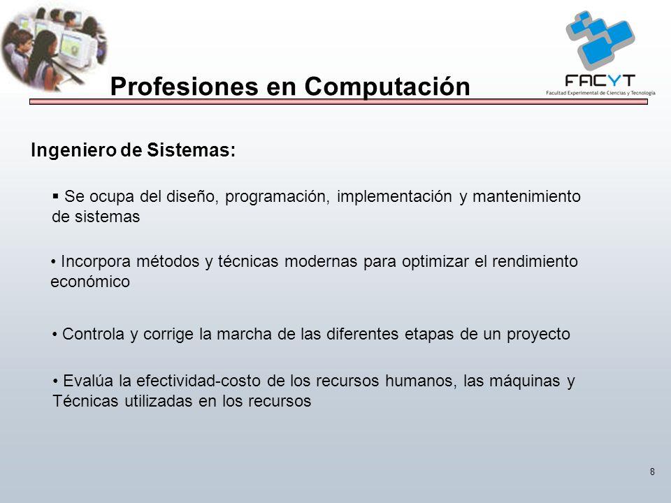 8 Profesiones en Computación Se ocupa del diseño, programación, implementación y mantenimiento de sistemas Incorpora métodos y técnicas modernas para
