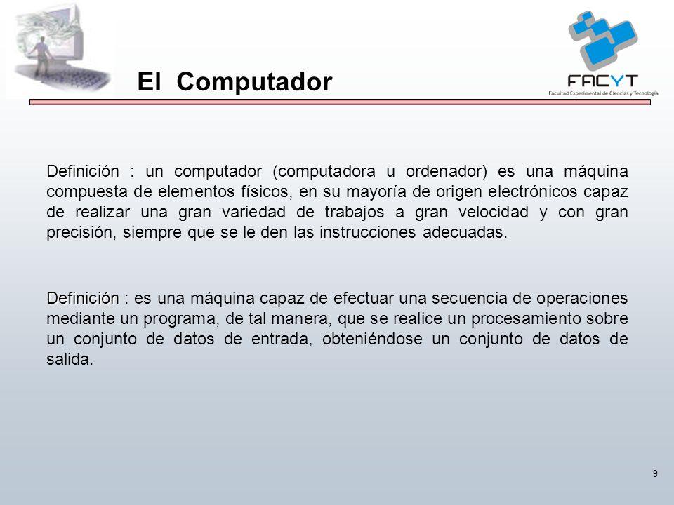 9 El Computador Definición Definición : un computador (computadora u ordenador) es una máquina compuesta de elementos físicos, en su mayoría de origen