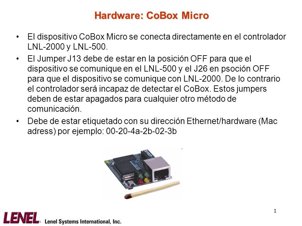 2 Hardware: CoBox Micro – Asignación de IP por ARP Se le asigna temporalmente una dirección TCP/IP en la red utilizando la utilidad ARP.