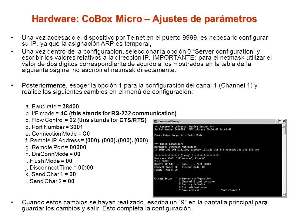 3 Una vez accesado el dispositivo por Telnet en el puerto 9999, es necesario configurar su IP, ya que la asignación ARP es temporal, Una vez dentro de