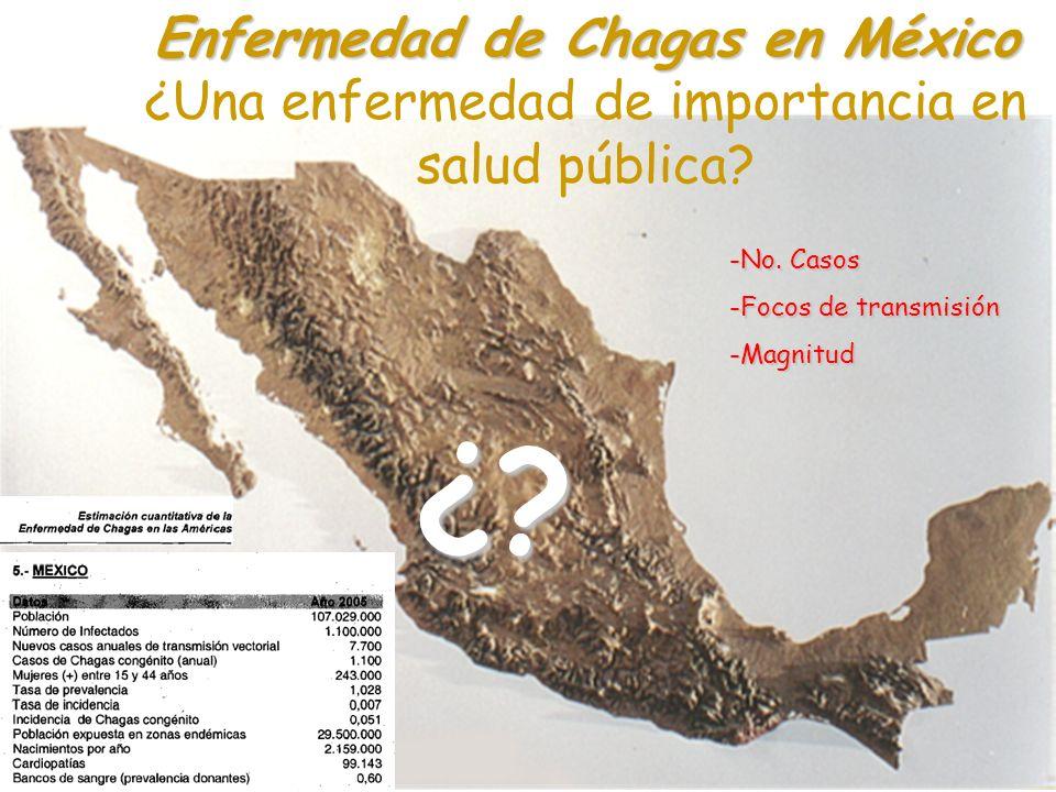 Enfermedad de Chagas en México Enfermedad de Chagas en México ¿Una enfermedad de importancia en salud pública?¿? -No. Casos -Focos de transmisión -Mag