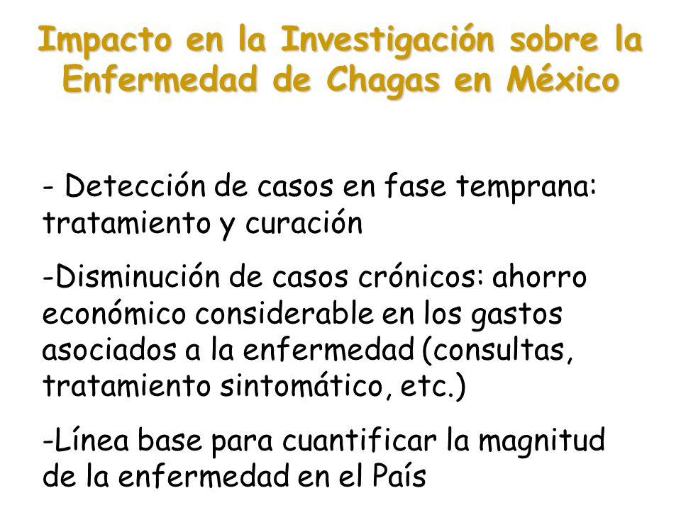 Impacto en la Investigación sobre la Enfermedad de Chagas en México - Detección de casos en fase temprana: tratamiento y curación -Disminución de caso