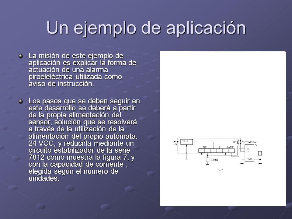 Un ejemplo de aplicación La misión de este ejemplo de aplicación es explicar la forma de actuación de una alarma piroeleléctrica utilizada como aviso