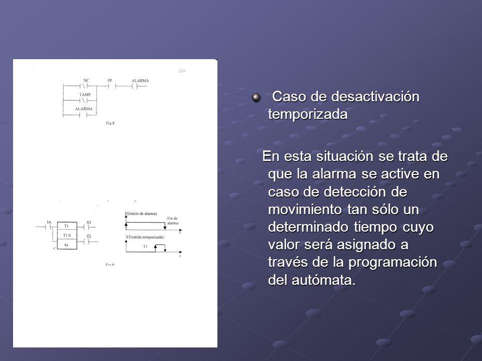 Caso de desactivación temporizada Caso de desactivación temporizada En esta situación se trata de que la alarma se active en caso de detección de movi
