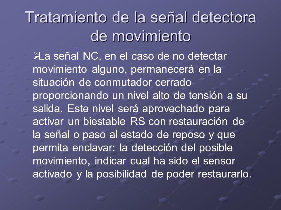 Tratamiento de la señal detectora de movimiento La señal NC, en el caso de no detectar movimiento alguno, permanecerá en la situación de conmutador ce