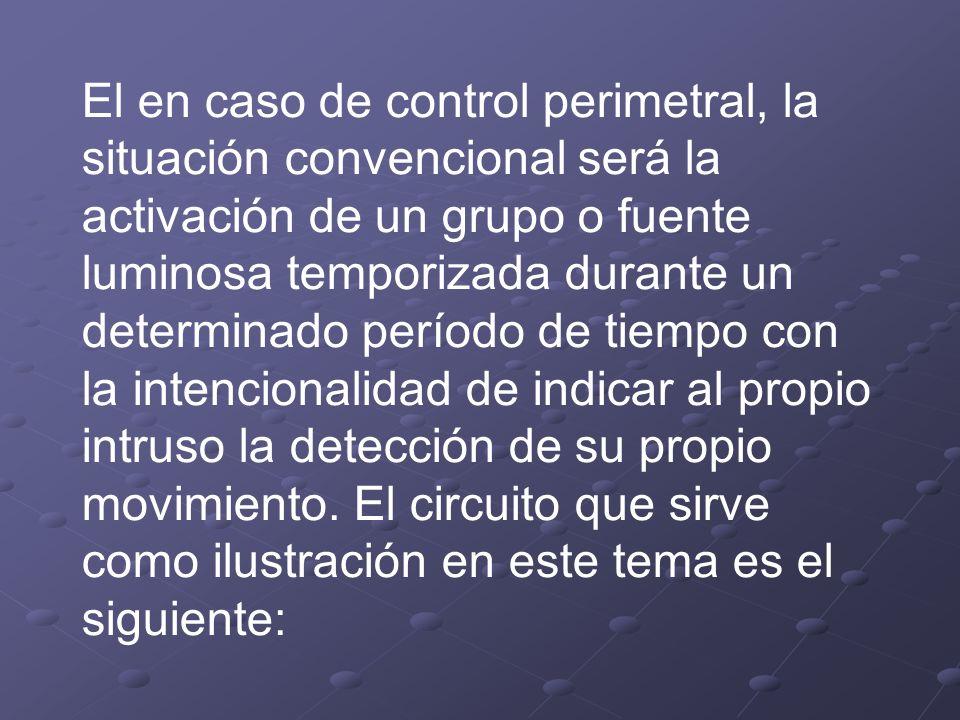El en caso de control perimetral, la situación convencional será la activación de un grupo o fuente luminosa temporizada durante un determinado períod