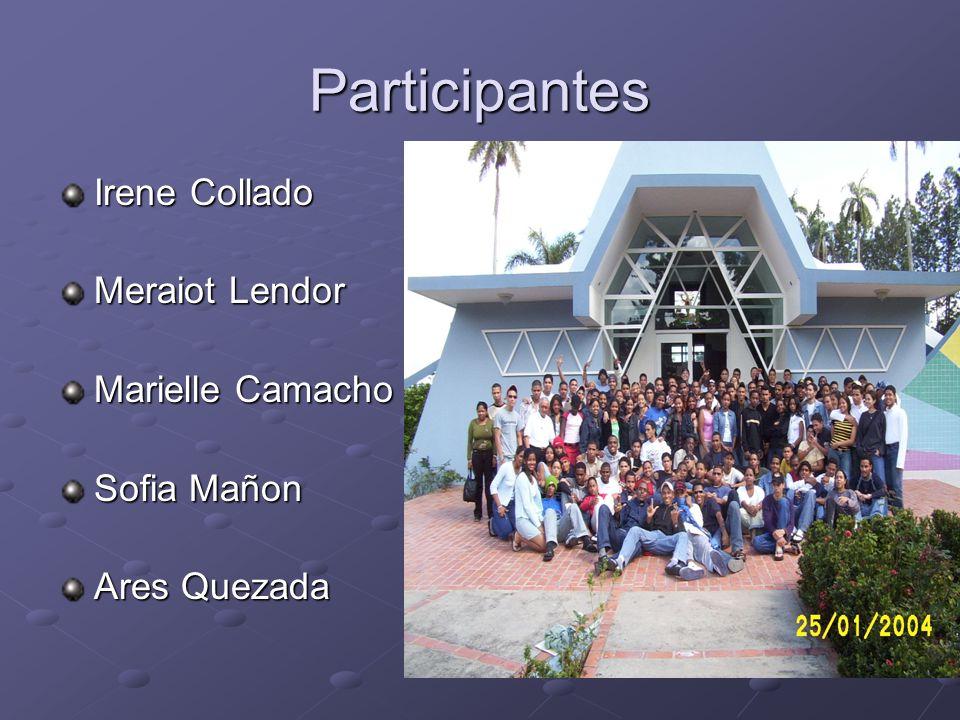 Participantes Irene Collado Meraiot Lendor Marielle Camacho Sofia Mañon Ares Quezada