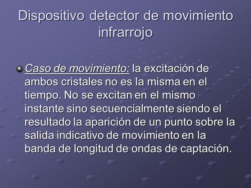 Dispositivo detector de movimiento infrarrojo Caso de movimiento: la excitación de ambos cristales no es la misma en el tiempo. No se excitan en el mi