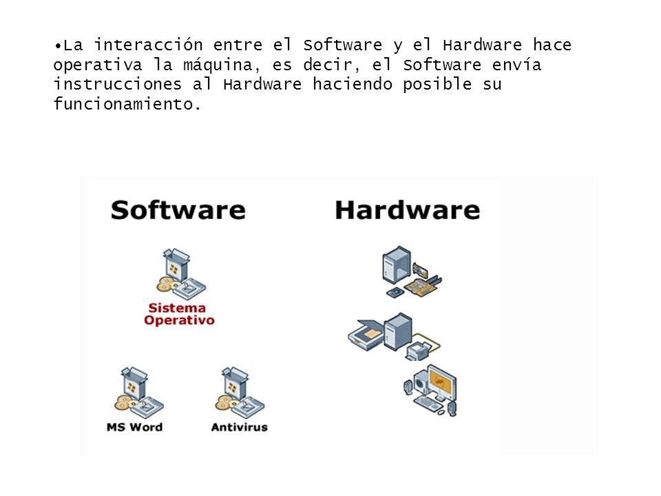 La interacción entre el Software y el Hardware hace operativa la máquina, es decir, el Software envía instrucciones al Hardware haciendo posible su fu