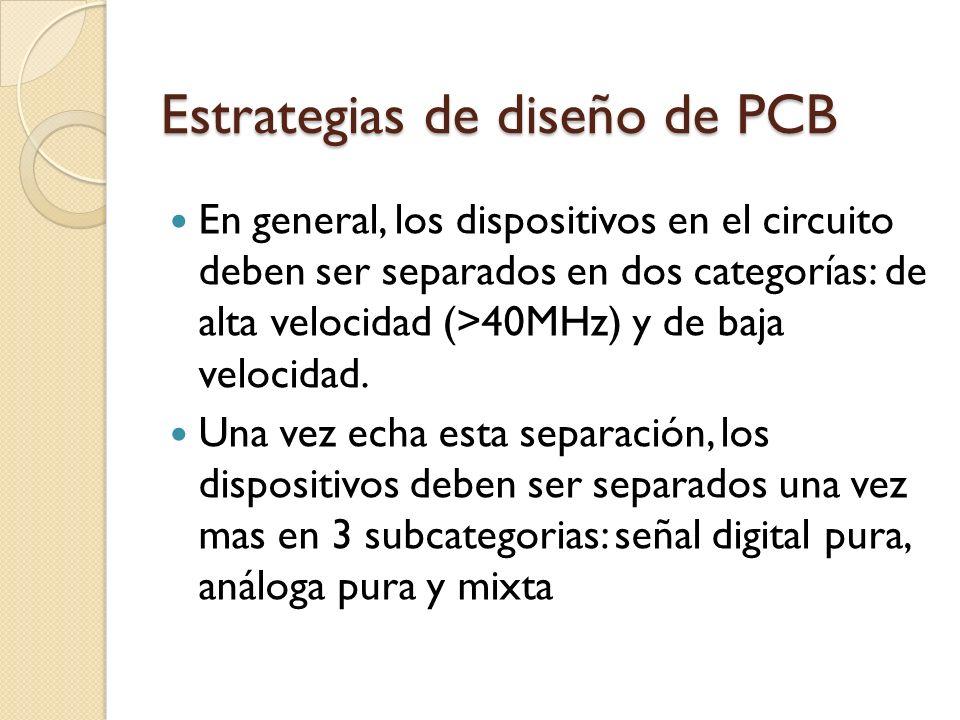 Estrategias de diseño de PCB En general, los dispositivos en el circuito deben ser separados en dos categorías: de alta velocidad (>40MHz) y de baja v