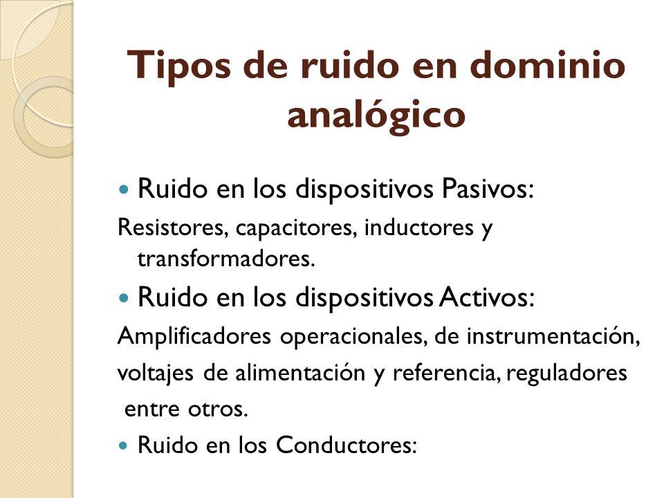Tipos de ruido en dominio analógico Ruido en los dispositivos Pasivos: Resistores, capacitores, inductores y transformadores. Ruido en los dispositivo