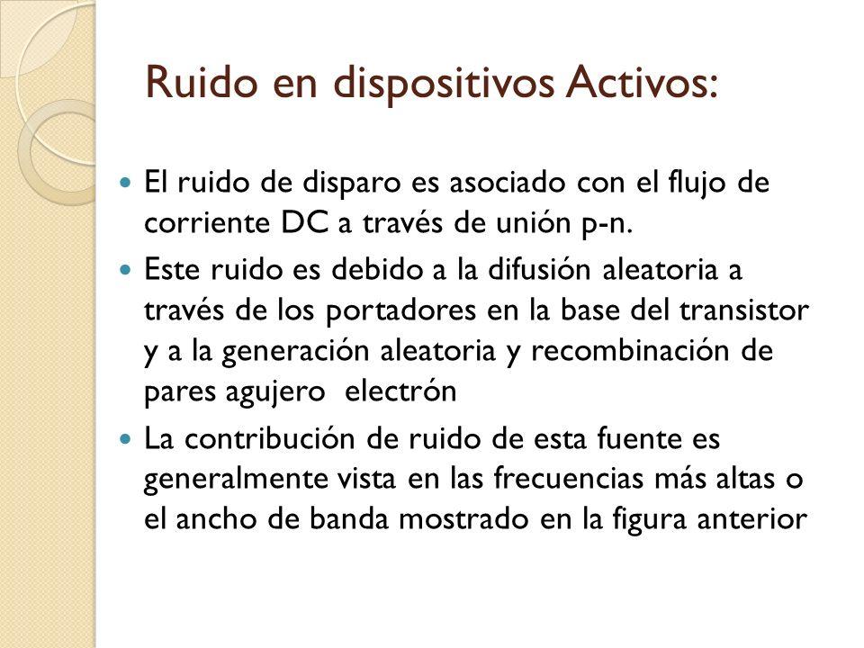 Ruido en dispositivos Activos: El ruido de disparo es asociado con el flujo de corriente DC a través de unión p-n. Este ruido es debido a la difusión