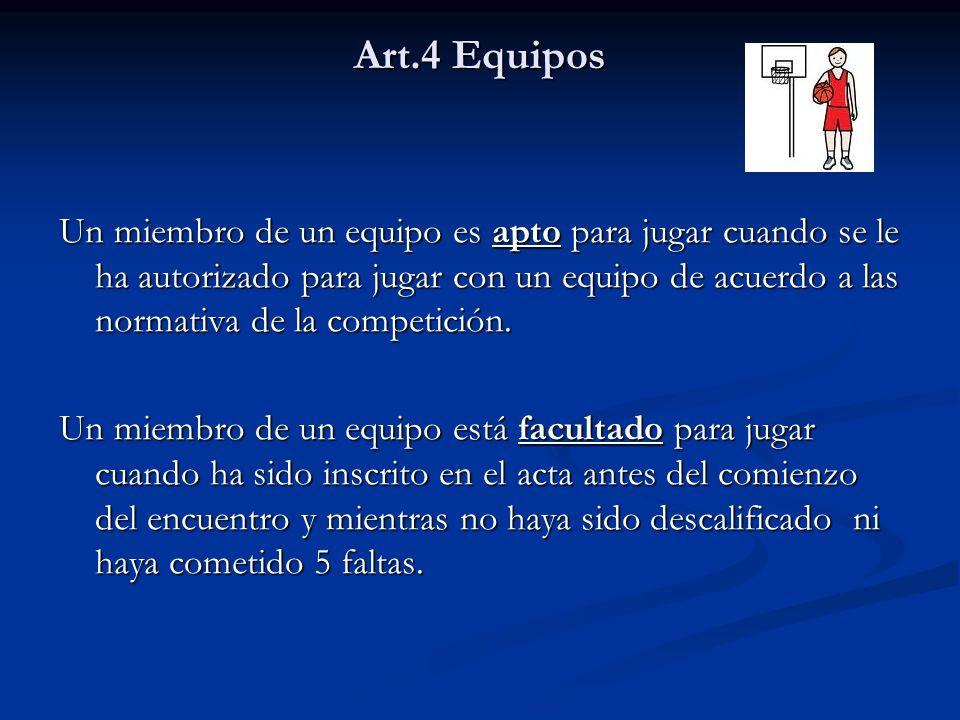 Art.4 Equipos Un miembro de un equipo es apto para jugar cuando se le ha autorizado para jugar con un equipo de acuerdo a las normativa de la competic
