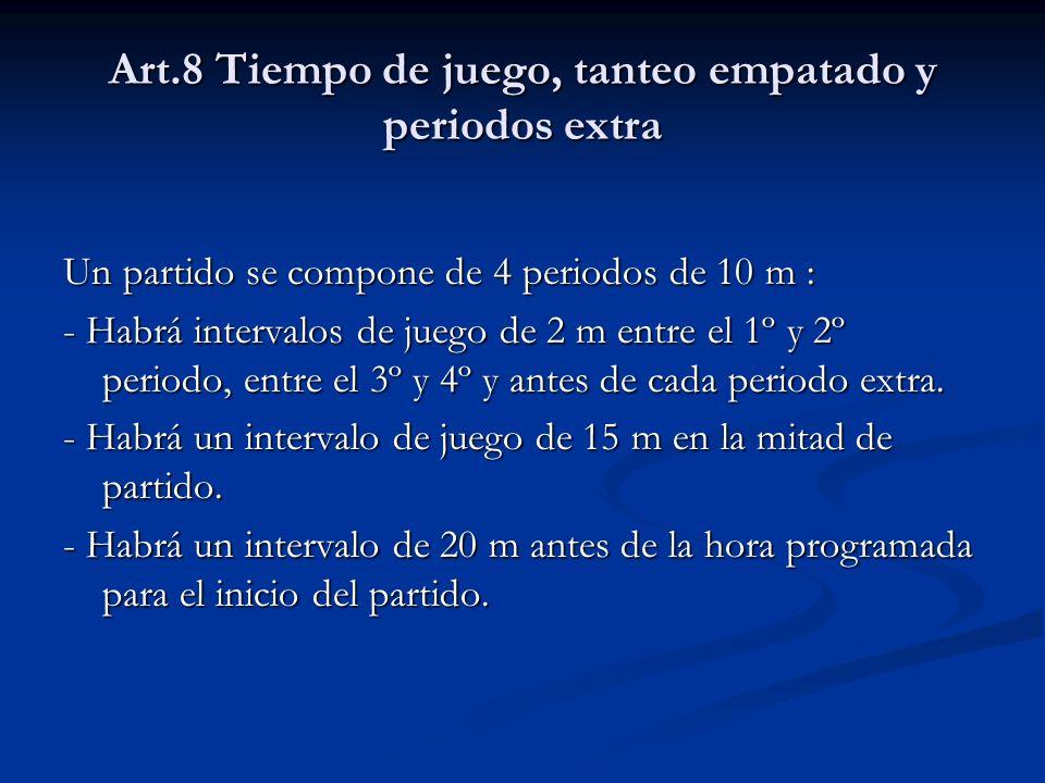 Art.8 Tiempo de juego, tanteo empatado y periodos extra Un partido se compone de 4 periodos de 10 m : - Habrá intervalos de juego de 2 m entre el 1º y 2º periodo, entre el 3º y 4º y antes de cada periodo extra.