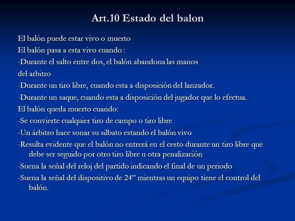 Art.10 Estado del balon El balón puede estar vivo o muerto El balón pasa a esta vivo cuando : -Durante el salto entre dos, el balón abandona las manos