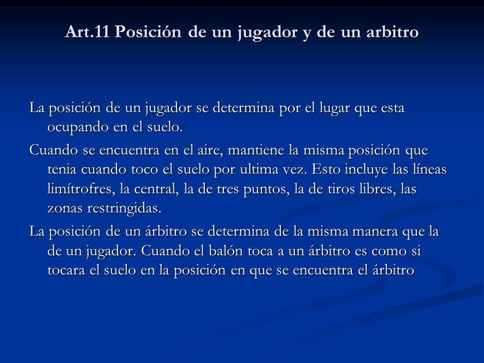 Art.11 Posición de un jugador y de un arbitro La posición de un jugador se determina por el lugar que esta ocupando en el suelo. Cuando se encuentra e