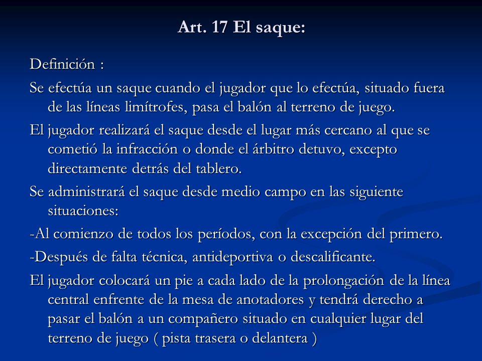 Art. 17 El saque: Definición : Se efectúa un saque cuando el jugador que lo efectúa, situado fuera de las líneas limítrofes, pasa el balón al terreno