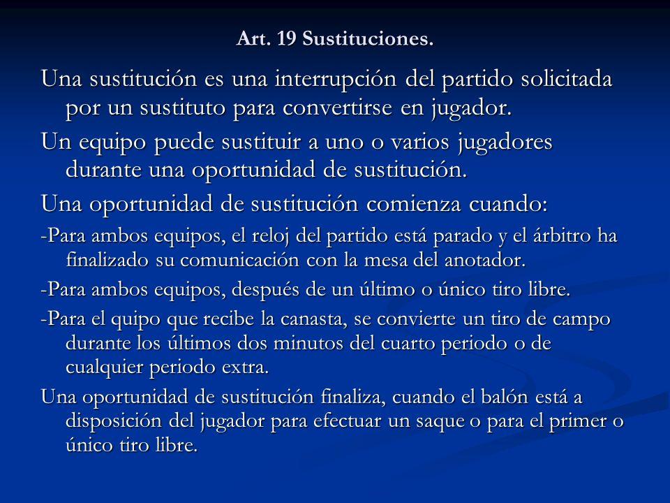 Art. 19 Sustituciones. Una sustitución es una interrupción del partido solicitada por un sustituto para convertirse en jugador. Un equipo puede sustit