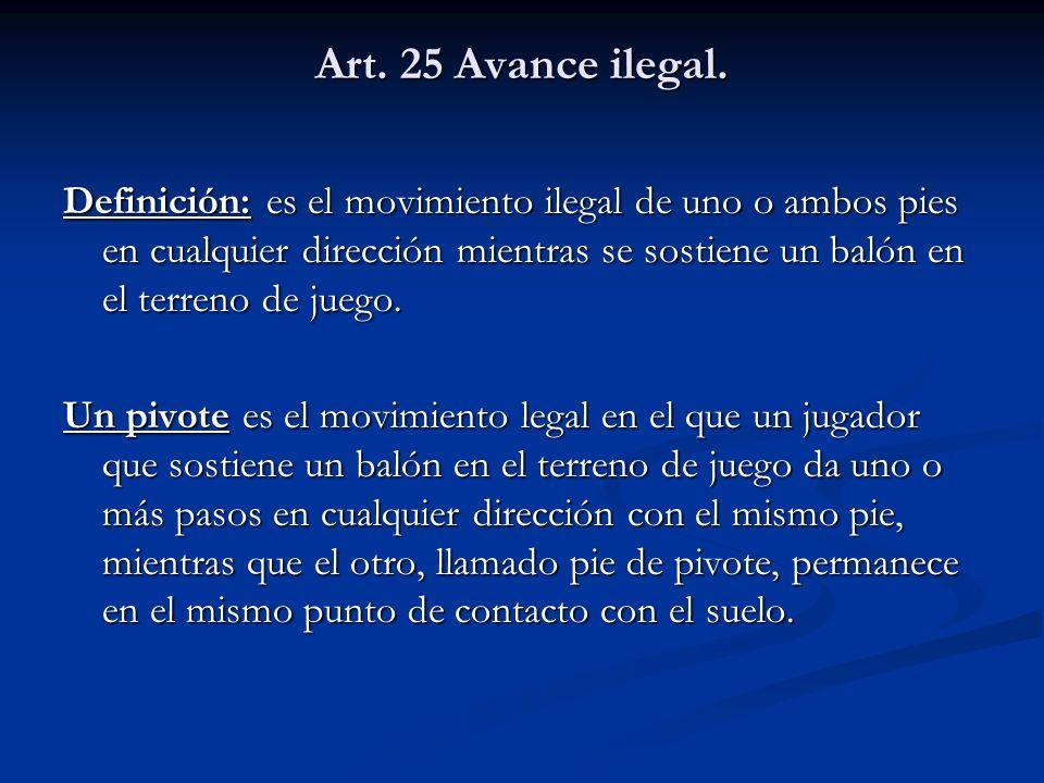 Art. 25 Avance ilegal. Definición: es el movimiento ilegal de uno o ambos pies en cualquier dirección mientras se sostiene un balón en el terreno de j