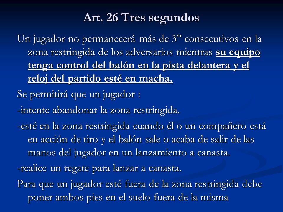 Art. 26 Tres segundos Un jugador no permanecerá más de 3 consecutivos en la zona restringida de los adversarios mientras su equipo tenga control del b
