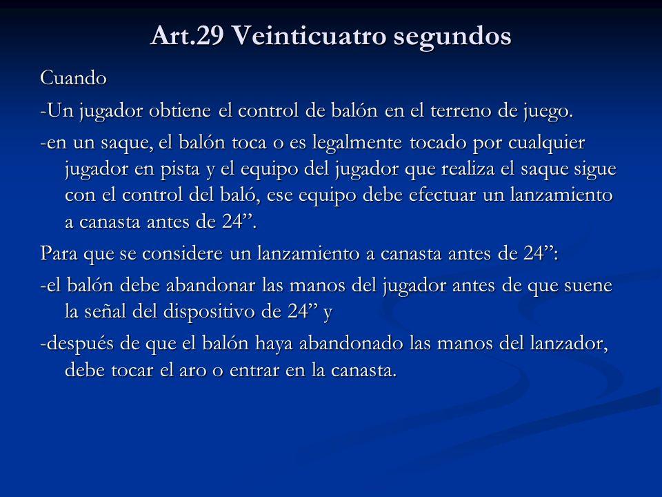 Art.29 Veinticuatro segundos Cuando -Un jugador obtiene el control de balón en el terreno de juego. -en un saque, el balón toca o es legalmente tocado