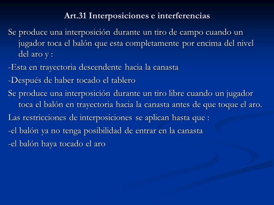 Art.31 Interposiciones e interferencias Se produce una interposición durante un tiro de campo cuando un jugador toca el balón que esta completamente p