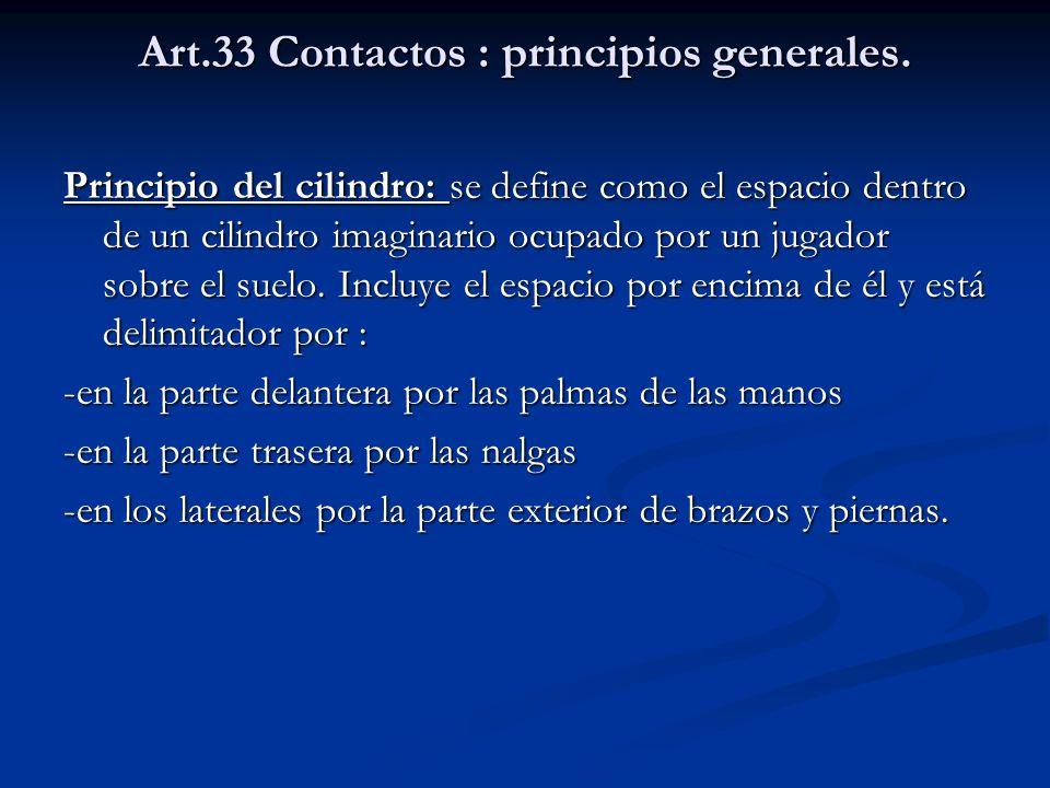 Art.33 Contactos : principios generales. Principio del cilindro: se define como el espacio dentro de un cilindro imaginario ocupado por un jugador sob