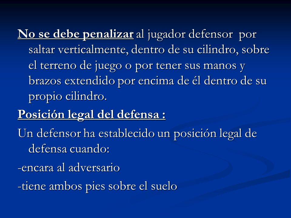 No se debe penalizar al jugador defensor por saltar verticalmente, dentro de su cilindro, sobre el terreno de juego o por tener sus manos y brazos ext