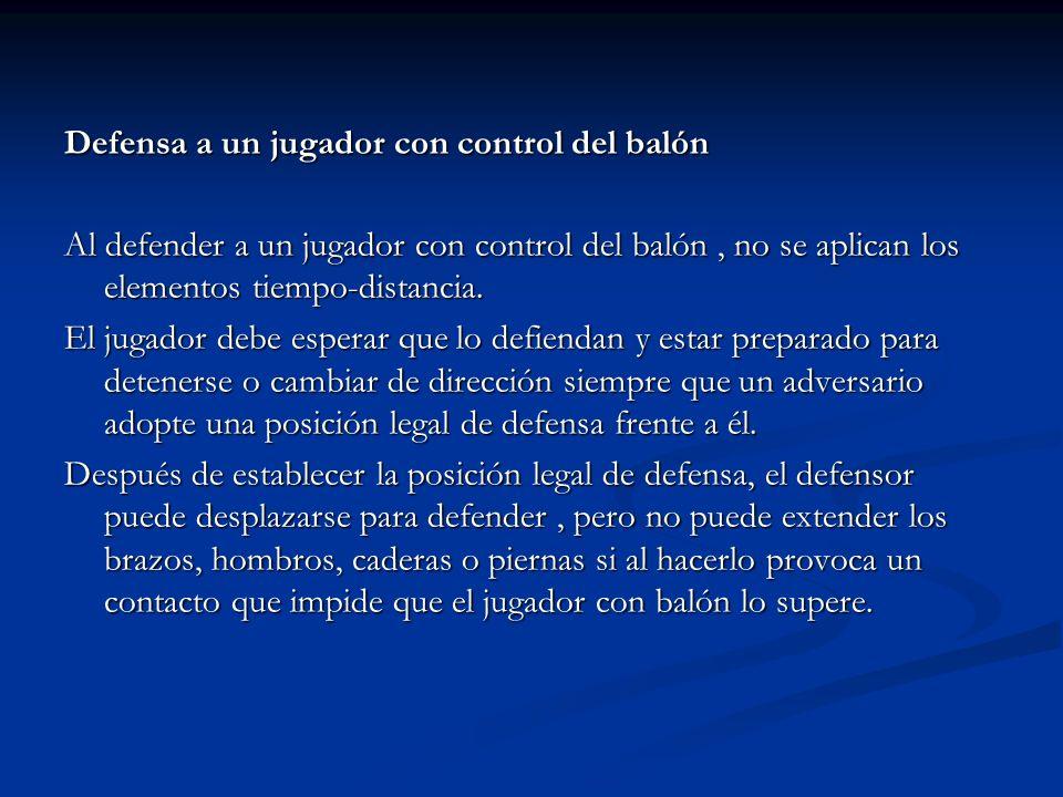Defensa a un jugador con control del balón Al defender a un jugador con control del balón, no se aplican los elementos tiempo-distancia. El jugador de