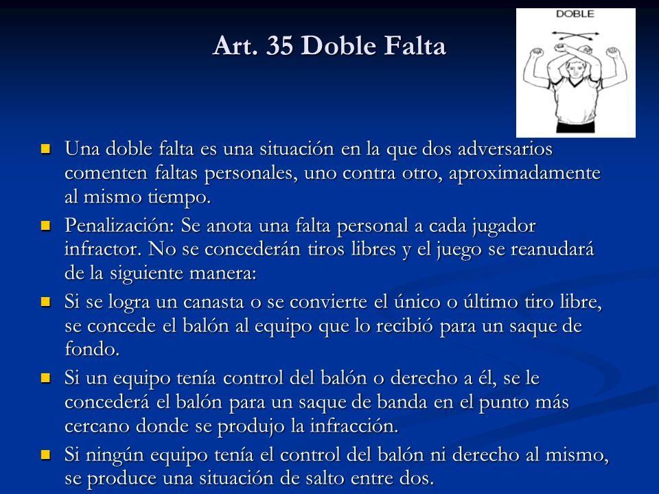Art. 35 Doble Falta Una doble falta es una situación en la que dos adversarios comenten faltas personales, uno contra otro, aproximadamente al mismo t