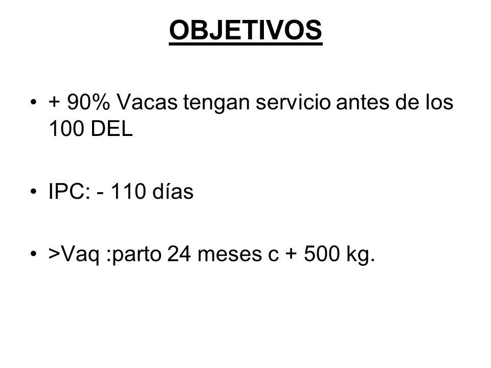 OBJETIVOS + 90% Vacas tengan servicio antes de los 100 DEL IPC: - 110 días >Vaq :parto 24 meses c + 500 kg.