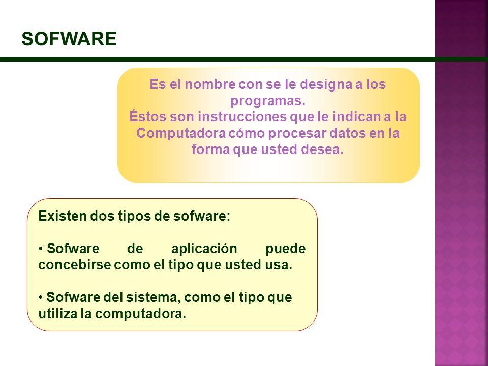 SOFWARE Es el nombre con se le designa a los programas. Éstos son instrucciones que le indican a la Computadora cómo procesar datos en la forma que us