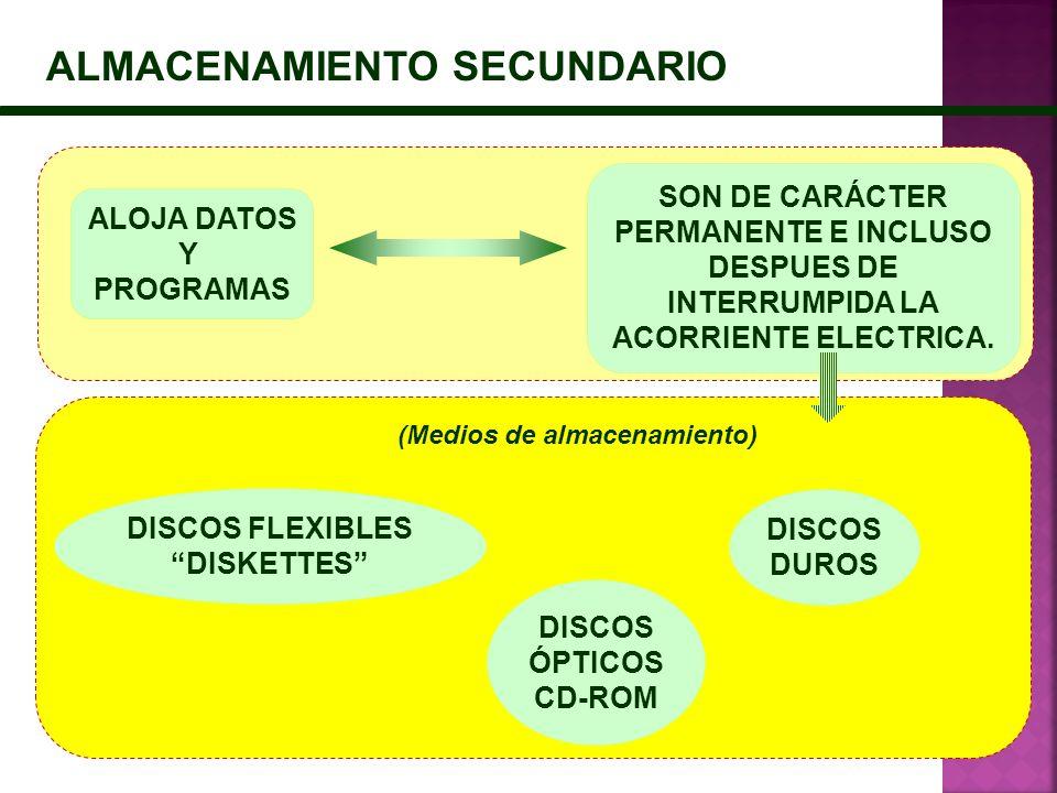 ALMACENAMIENTO SECUNDARIO SON DE CARÁCTER PERMANENTE E INCLUSO DESPUES DE INTERRUMPIDA LA ACORRIENTE ELECTRICA. ALOJA DATOS Y PROGRAMAS DISCOS ÓPTICOS