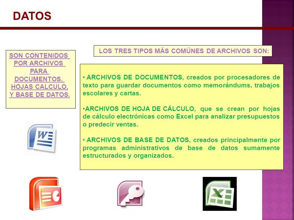 DATOS ARCHIVOS DE DOCUMENTOS, creados por procesadores de texto para guardar documentos como memorándums, trabajos escolares y cartas. ARCHIVOS DE HOJ