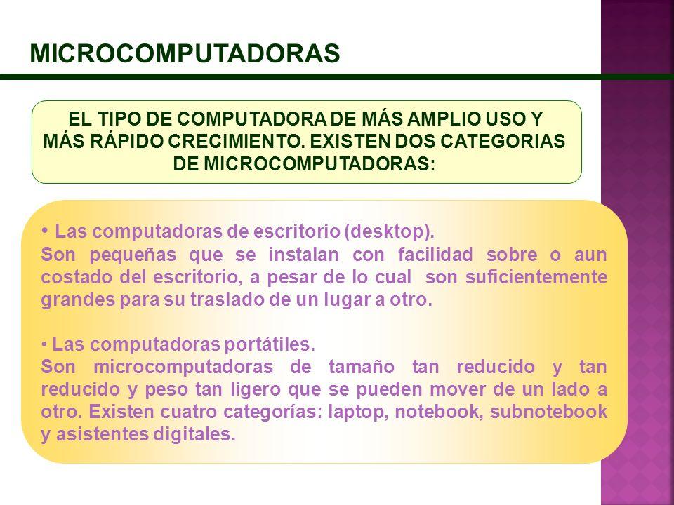 MICROCOMPUTADORAS Las computadoras de escritorio (desktop). Son pequeñas que se instalan con facilidad sobre o aun costado del escritorio, a pesar de