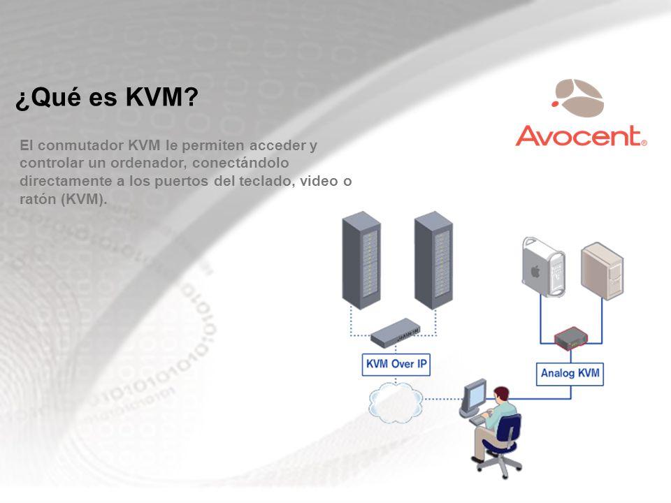 ¿Qué es KVM? El conmutador KVM le permiten acceder y controlar un ordenador, conectándolo directamente a los puertos del teclado, video o ratón (KVM).
