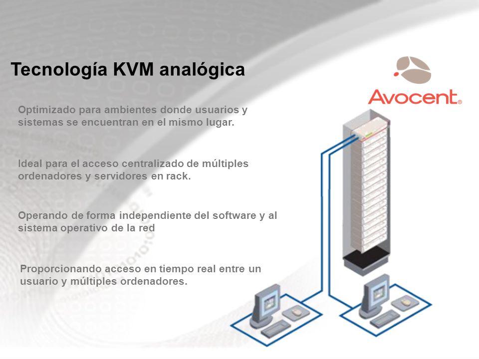 Tecnología KVM analógica Optimizado para ambientes donde usuarios y sistemas se encuentran en el mismo lugar. Ideal para el acceso centralizado de múl
