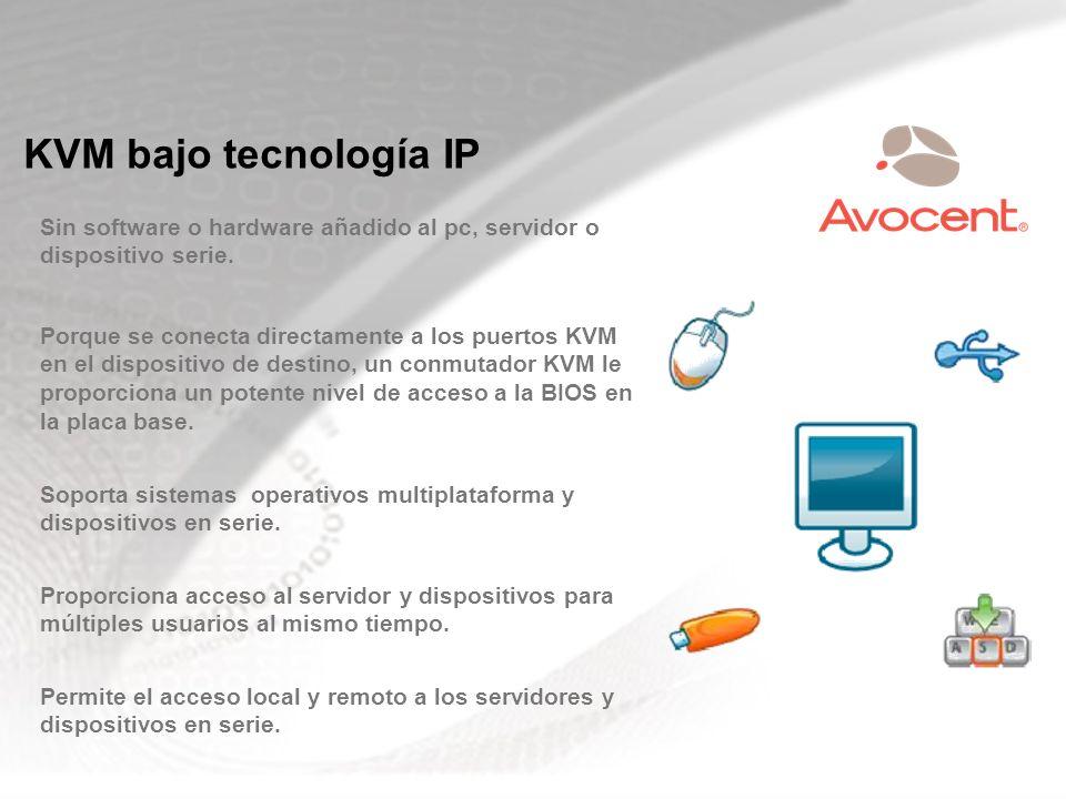 KVM bajo tecnología IP Sin software o hardware añadido al pc, servidor o dispositivo serie. Porque se conecta directamente a los puertos KVM en el dis