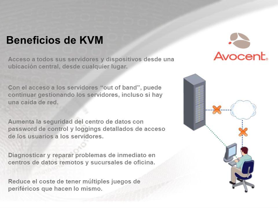 Beneficios de KVM Acceso a todos sus servidores y dispositivos desde una ubicación central, desde cualquier lugar. Con el acceso a los servidores out