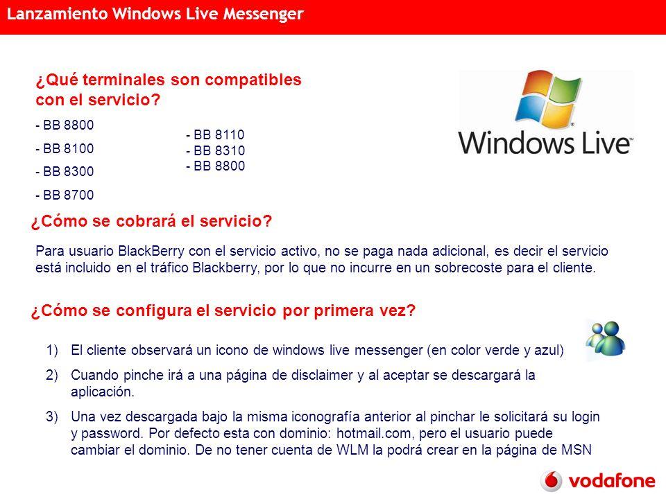 Acciones Semanales Distribución Acreditada 15 de noviembre de 2007 Lanzamiento Windows Live Messenger ¿Qué terminales son compatibles con el servicio.