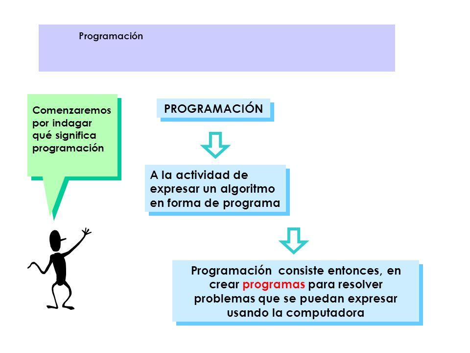 Comenzaremos por indagar qué significa programación PROGRAMACIÓN A la actividad de expresar un algoritmo en forma de programa Programación consiste en