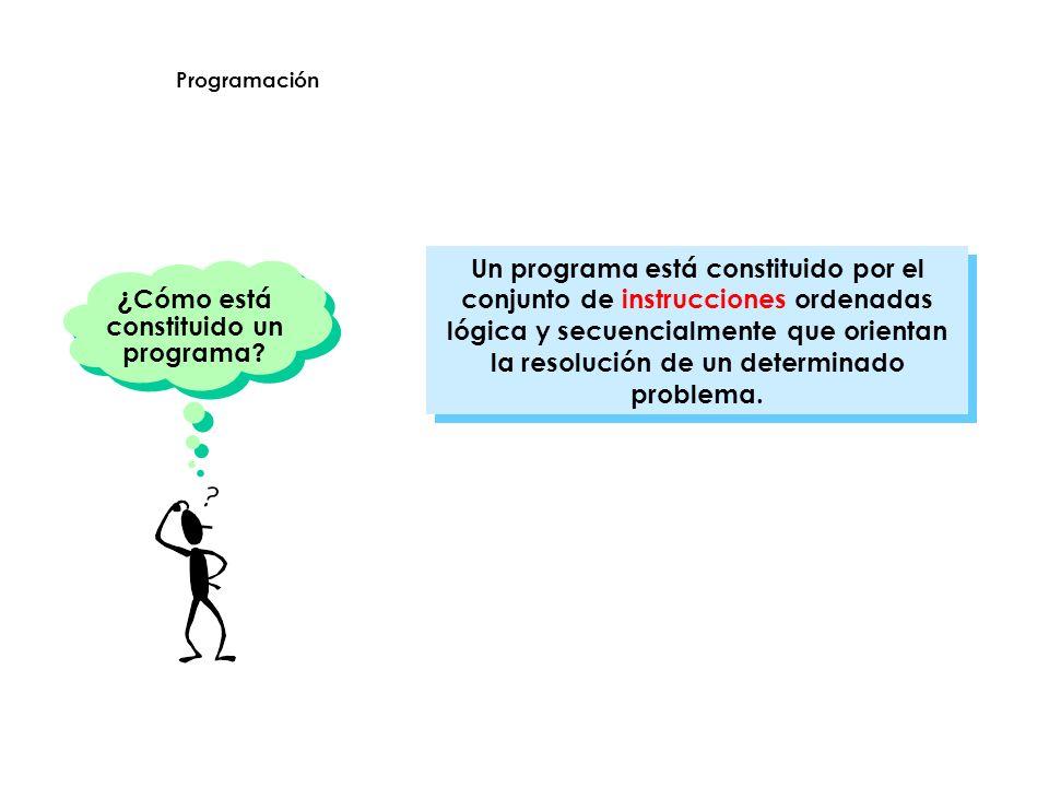 Un programa está constituido por el conjunto de instrucciones ordenadas lógica y secuencialmente que orientan la resolución de un determinado problema