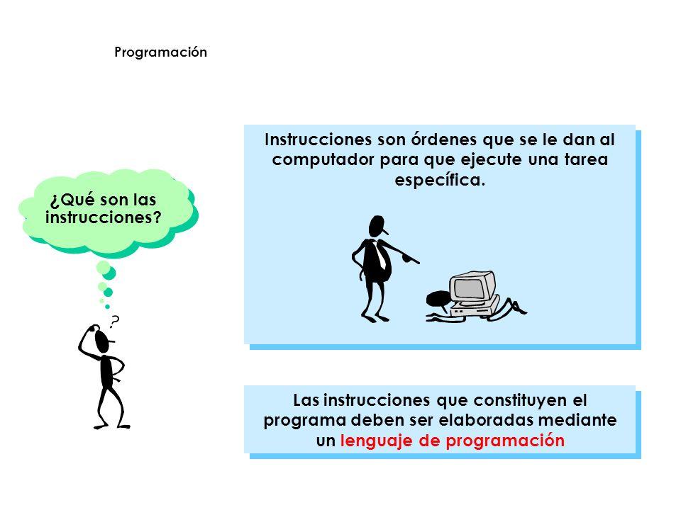 ¿ Qué son las instrucciones? Las instrucciones que constituyen el programa deben ser elaboradas mediante un lenguaje de programación Instrucciones son