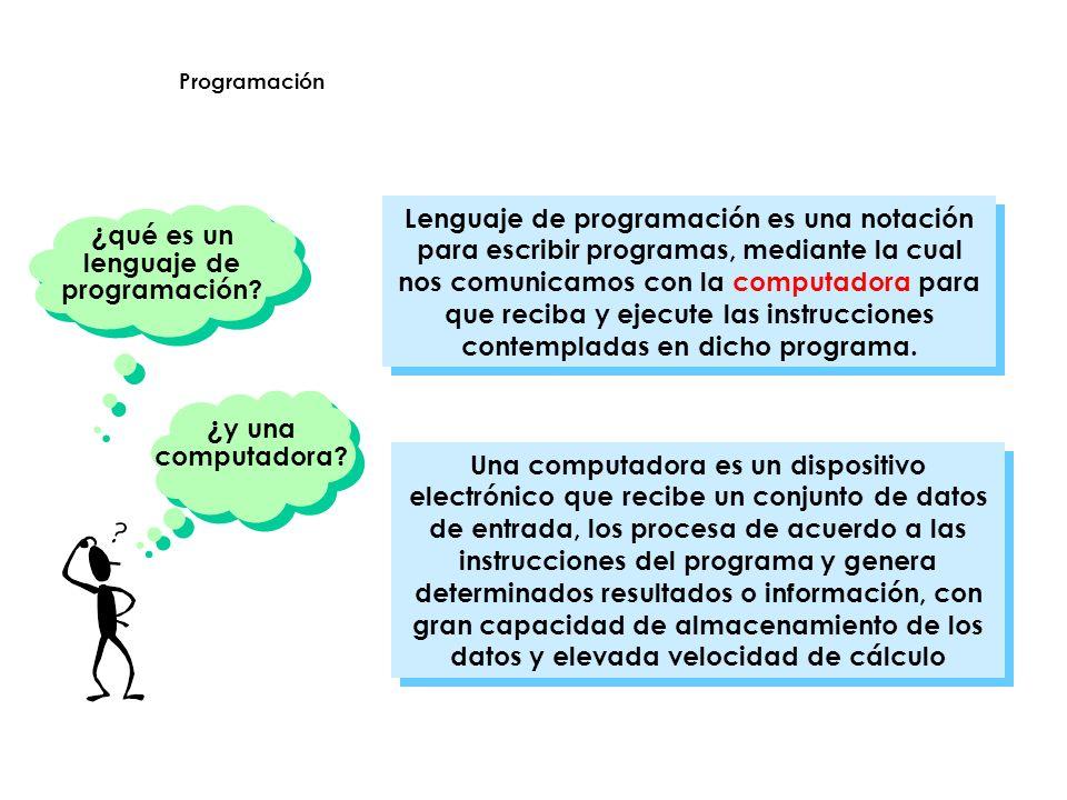 procesa datos de acuerdo a las instrucciones del programa DATOSPROGRAMAS INFORMACIÓN gran capacidad de almacenamiento y elevada velocidad de cálculo Programación