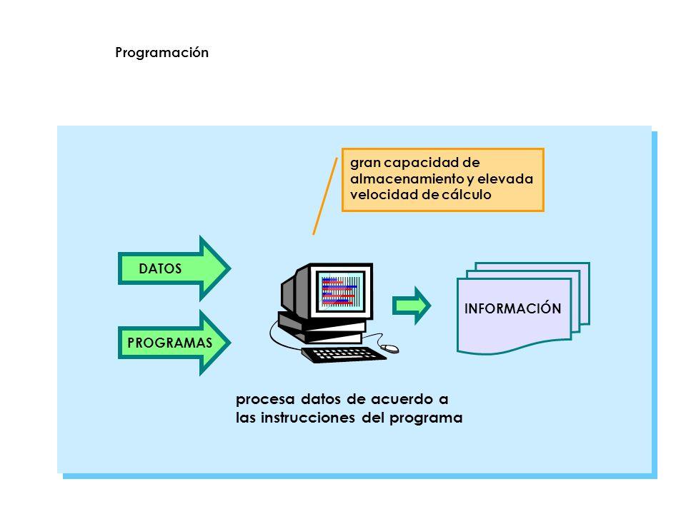 procesa datos de acuerdo a las instrucciones del programa DATOSPROGRAMAS INFORMACIÓN gran capacidad de almacenamiento y elevada velocidad de cálculo P