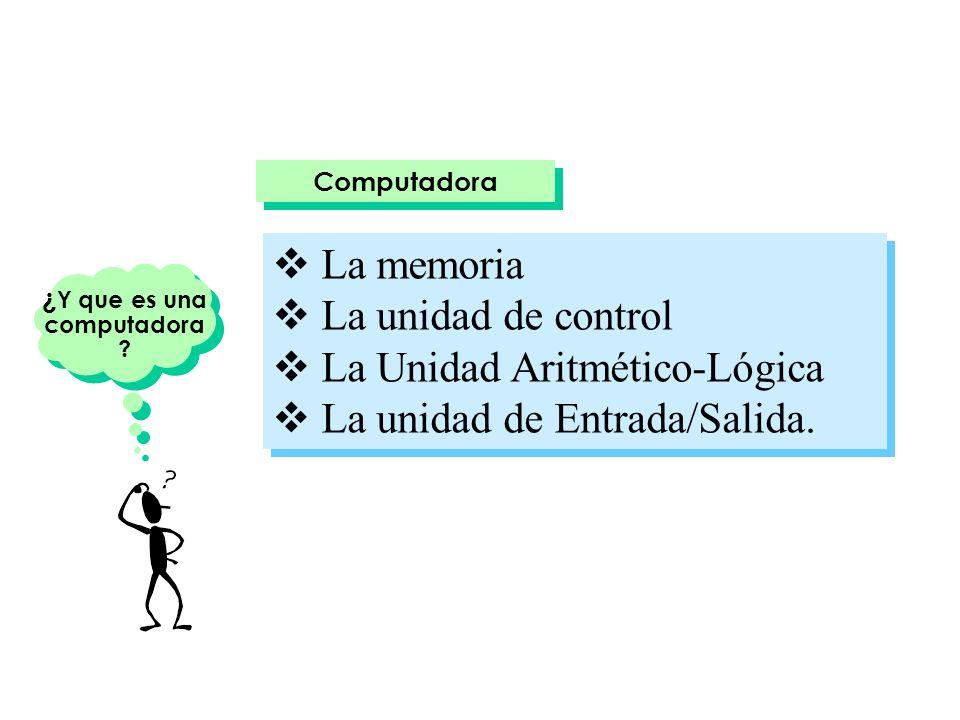 Computadora La memoria La unidad de control La Unidad Aritmético-Lógica La unidad de Entrada/Salida. La memoria La unidad de control La Unidad Aritmét