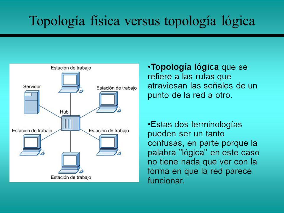 Topología física versus topología lógica Topología lógica que se refiere a las rutas que atraviesan las señales de un punto de la red a otro. Estas do
