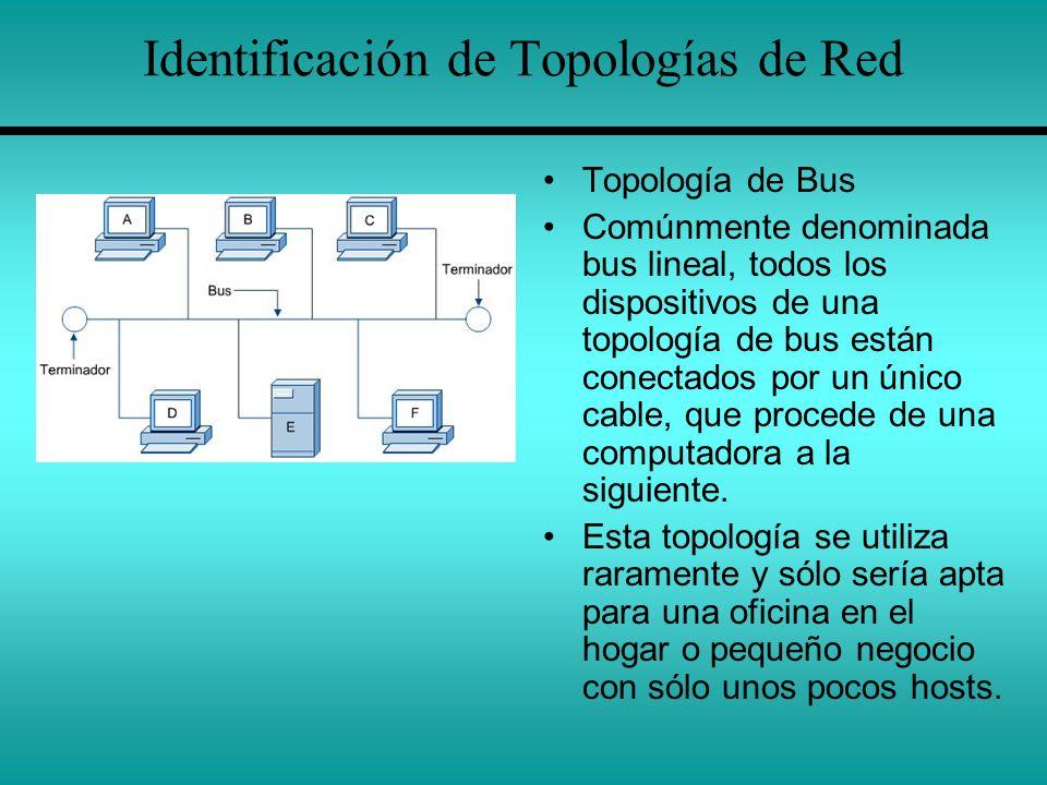 Identificación de Topologías de Red Topología de Bus Comúnmente denominada bus lineal, todos los dispositivos de una topología de bus están conectados